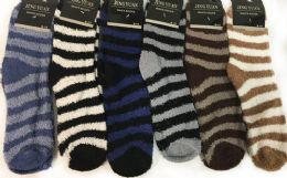 96 Units of Man Fuzzy socks with Stripes Assorted - Men's Fuzzy Socks