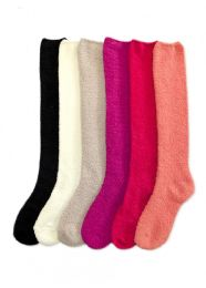 240 Units of Womens Solid Color Soft Touch Fuzzy Socks - Womens Fuzzy Socks