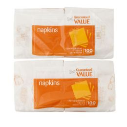 96 Units of Napkins 100 Ct Guaranteed Value Brand- Asst Orange/brown Print - Party Paper Goods