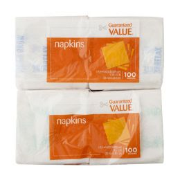 96 Units of Napkins 100 Ct Guaranteed Value Brand- Asst Green/blue Print - Party Paper Goods