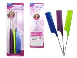 288 Units of 3 Piece Metal Rat Tail Combs - Hair Brushes & Combs
