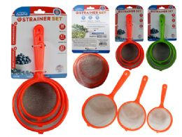 72 Units of 3pc Strainers With Handles - Kitchen Utensils