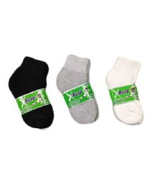 144 Units of Boys Sports Sock Ankle 4-6 In Black - Boys Ankle Sock