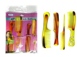 144 Units of 4pc Assorted Combs Set - Hair Brushes & Combs