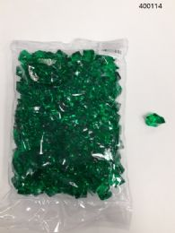 36 Units of Plastic Decoration Stones In Dark Green - Rocks, Stones & Sand