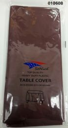 144 Units of Round Heavy Duty Plastic Table Cover 84 Inch Round In Brown - Table Cloth