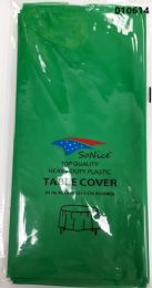 144 Units of Round Heavy Duty Plastic Table Cover 84 Inch Round In Emerald - Table Cloth