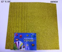 24 Units of Eva Foam With Glitter 12x18 10 Sheets In Gold - Poster & Foam Boards