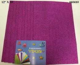 24 Units of Eva Foam With Glitter 12x18 10 Sheets In Purple - Poster & Foam Boards