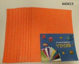 24 Units of Eva Foam With Glitter 12x18 10 Sheets In Orange - Poster & Foam Boards