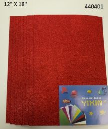 24 Units of Eva Foam With Glitter 12x18 10 Sheets In Red - Poster & Foam Boards