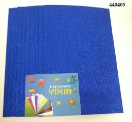 24 Units of Eva Foam With Glitter 12x18 10 Sheets In Royal Blue - Poster & Foam Boards