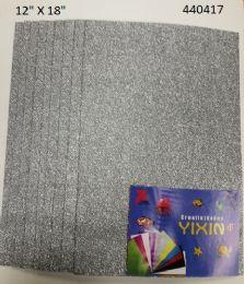 24 Units of Eva Foam With Glitter 12x18 10 Sheets In Silver - Poster & Foam Boards