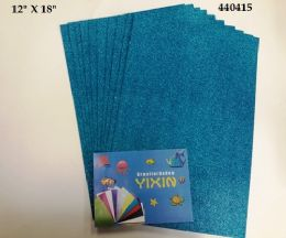 24 Units of Eva Foam With Glitter 12x18 10 Sheets In Torquoise - Poster & Foam Boards