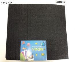 """48 Units of Eva Foam W/ Glue And Glitter 12""""x12"""" 10 Sheets In Black - Poster & Foam Boards"""