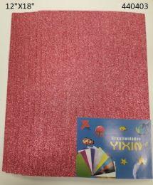 """48 Units of Eva Foam W/ Glue And Glitter 12""""x12"""" 10 Sheets In Hot Pink - Poster & Foam Boards"""