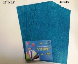 "48 Units of Eva Foam W/ Glue And Glitter 12""x12"" 10 Sheets In Torquoise - Poster & Foam Boards"