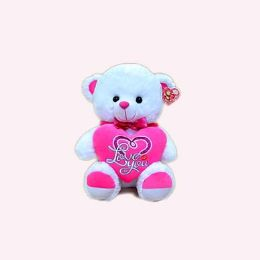 "15"" MUSICAL WHITE BEAR W/PINK HEART - Valentine Cut Out's Decoration"