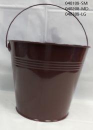 24 Units of Metal Bucket Medium In Brown - Buckets & Basins