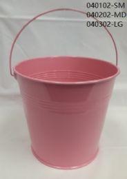 24 Units of Metal Bucket Medium In Light Pink - Buckets & Basins