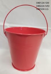 24 Units of Metal Bucket Large In Coral - Buckets & Basins