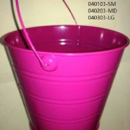 24 Units of Metal Bucket Large In Hot Pink - Buckets & Basins
