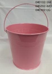 24 Units of Metal Bucket Large In Light Pink - Buckets & Basins