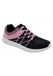 12 Units of Womens Fashion Sneakers In Black And Pink - Women's Sneakers