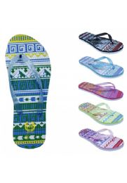 72 Units of Womens Fashion Sandals With A Glittery Strap And Weaved Base - Women's Flip Flops