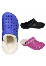 36 Units of Childrens Winter Clogs With Fleece Lining - Girls Slippers