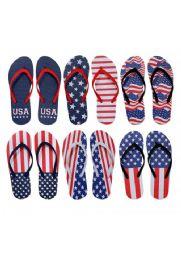 96 Units of Womens Flip Flops Assorted American Flag - Women's Flip Flops