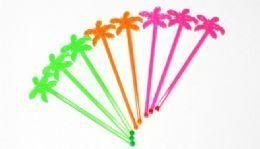 72 Units of Plastic Stirrer -Palm Tree 8 piece - Straws and Stirrers
