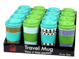 16 Units of Travel Mug 16.5oz in Display Box Assorted Patterns - Coffee Mugs