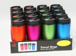 16 Units of Travel Mug 16 Oz Assorted Colors - Coffee Mugs