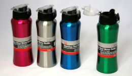 "24 Units of Stainless Steel Water Bottle, 20 oz - Flip Top, 8-1/4"" - Sport Water Bottles"