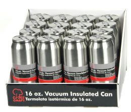 16 Units of Stainless Steel Vacuum Can w/Straw 16oz., - Sport Water Bottles