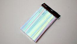 "24 Units of Straws Flexible Striped 150 Piece 8"" - Straws and Stirrers"