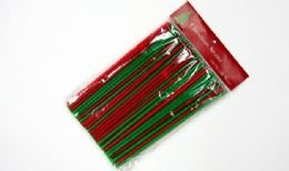"24 Units of Christmas Flexible Straws 100 CounT-8-1/4"" - Straws and Stirrers"