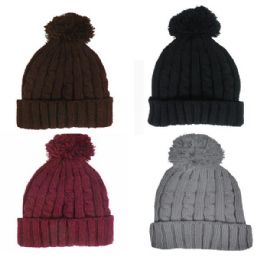36 Units of LADIES POM POM WINTER HAT - ASSORTED COLORS - Fashion Winter Hats