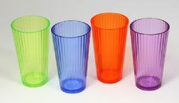 36 Units of Fluted Tumbler, 20oz - 4 Colors - Plastic Drinkware