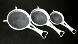 """72 Units of Mesh Strainers, 3 Piece Set - White 3, 4 & 5.5"""" - Strainers & Funnels"""