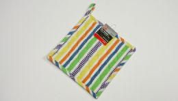 "36 Units of Pot Holder - Striped Pattern 7.75"" Square. - Oven Mits & Pot Holders"