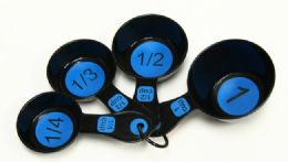 72 Units of Measuring Cup 4 Piece - Blue & Black - Measuring Cups and Spoons