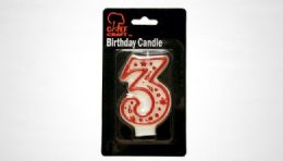 "72 Units of Numeral Candle #3- Red Outline 3"" - Birthday Candles"