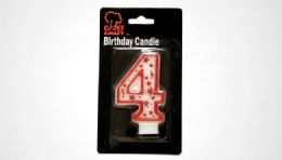 "72 Units of Numeral Candle #4- Red Outline 3"" - Birthday Candles"