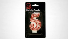 "72 Units of Numeral Candle #5- Red Outline 3"" - Birthday Candles"