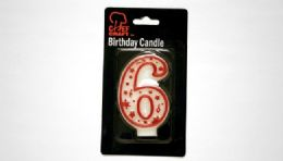 "72 Units of Numeral Candle #6 - Red Outline 3"" - Birthday Candles"