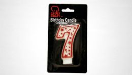 "72 Units of Numeral Candle #7- Red Outline 3"" - Birthday Candles"