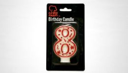 "72 Units of Numeral Candle #8- Red Outline 3"" - Birthday Candles"