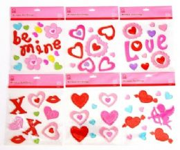 72 Units of Valentine's Window Gel Clings - Valentine Decorations